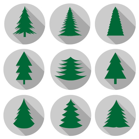 Vector green Christmas trees flat icons over white background Vector