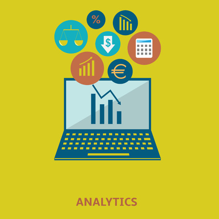 analytic: Data analytic icon set Illustration