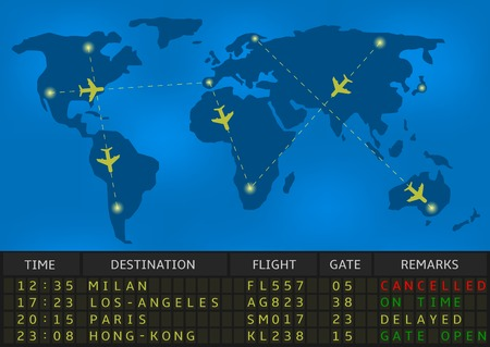 airport arrival: airport departure board Illustration