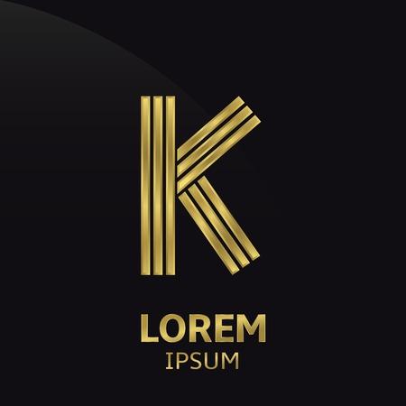 letter k: Golden letter symbol