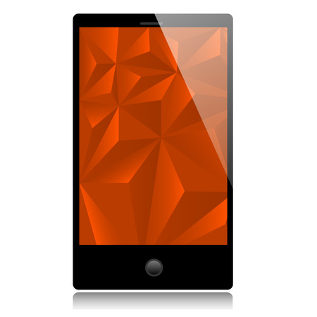 two dimensional shape: Smart phone with red background Illustration