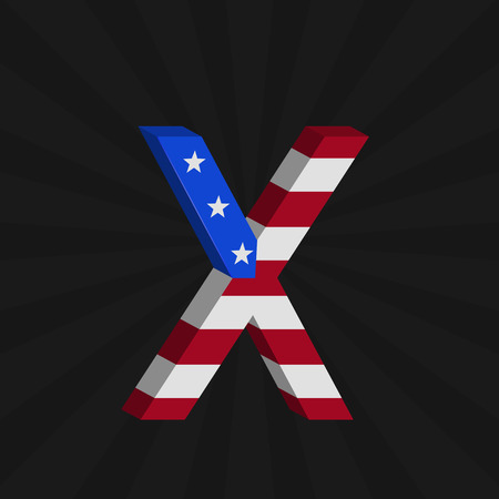 x country: USA flag alphabet