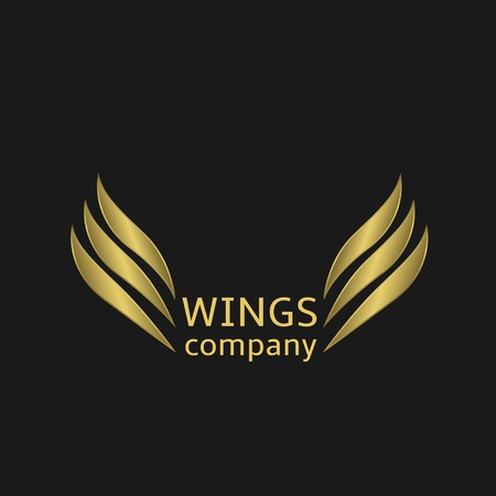 Golden Wings logo on the black background. Vector illustration.
