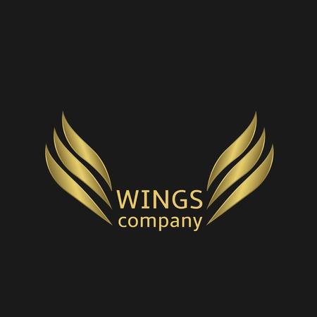 Golden Wings logo on the black background. Vector illustration.