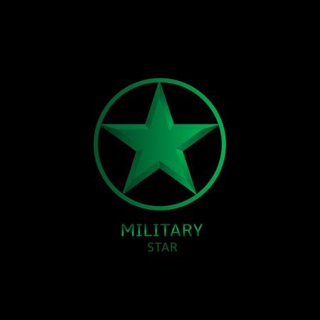 estrellas  de militares: Logotipo de la estrella militar en el fondo negro. Ilustración del vector.