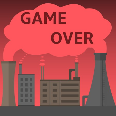 toxic cloud: Game Over text on the toxic cloud, industrial plant dangerous smokes into the atmosphere, Eco technology disaster, no future Illustration