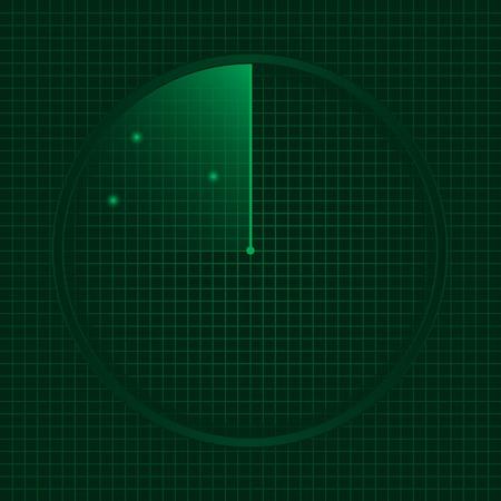 localization: Green radar screen, technology concept. Vector illustration.