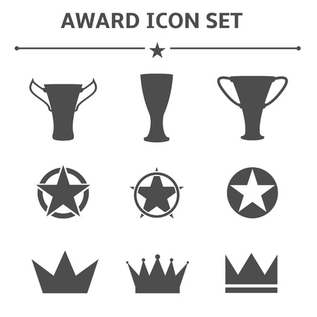 star award: Award icons on the white background. Trophy, crown, star, medal, insignia logo set. Vector illustration.