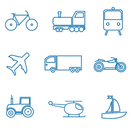 Transportart. Auto Bahn Flugzeug Fahrrad Sattelzug icon set. Vektor-Illustration
