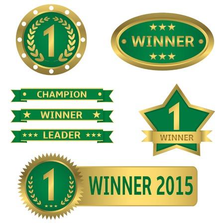 primer lugar: Vector ganador del primer lugar líder campeón del mejor concepto de conjunto de etiquetas de oro Vectores