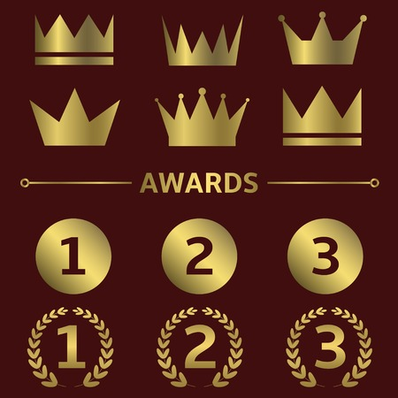 first place: Vector first place icons. Winner champion leader best symbols crowns signs golden label set