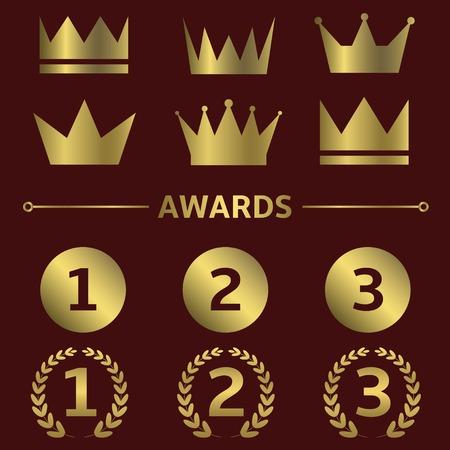 first place: Vector primero lugar iconos. Ganador líder campeón mejores símbolos corona signos conjunto de etiquetas de oro