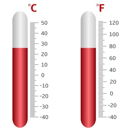 celsius: Thermometer icons, Celsius and Fahrenheit. Vector illustration