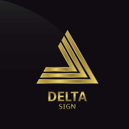 Golden Delta sign. icon for your company. Vector illustration. Иллюстрация