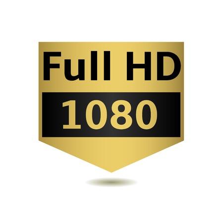 full hd: Full HD emblem on the white background. Vector illustration.