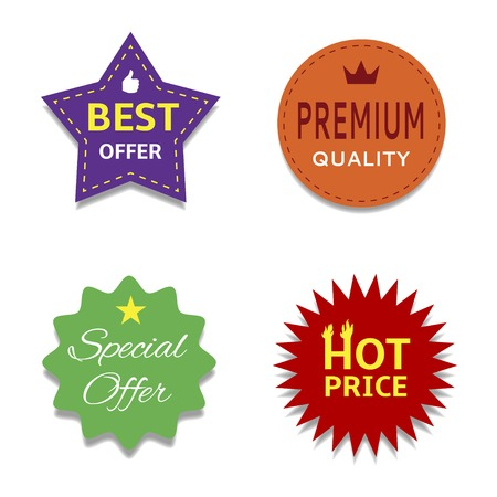 web buttons set: Colorful price set Premium quality Best offer. Vector illustration. Illustration