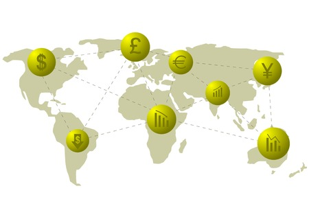 management concept: Financial system. World map with golden icons. Vector illustration.