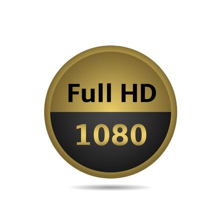 Full HD de oro emblema en el fondo blanco. Ilustración del vector.