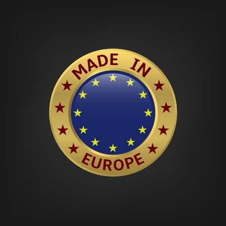 europe flags: Made in Europe icon, golden symbol. Vector illustration