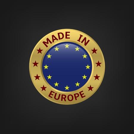 Made in Europe icoon, goud symbool. vector illustratie
