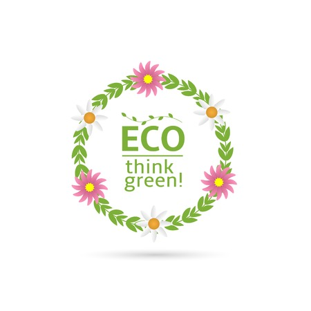 think green: Eco. Think green text with green laurel and flowers. Vector illustration Illustration