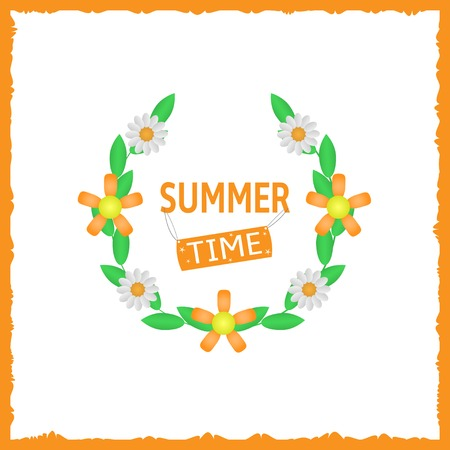 summer time: Summer time text with green laurels and flowers on the white background and orange decorative frame. Vector illustration.