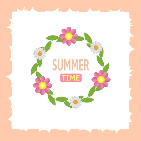 summer time: Summer time text with green laurels and flowers. Vector illustration. Illustration