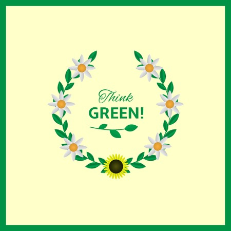think green: Think green text with green laurel and flowers. Vector illustration Illustration