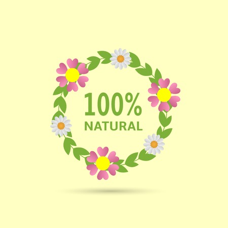 one hundred: One hundred percent natural text with green laurel and flowers on the yellow background. Vector illustration Illustration