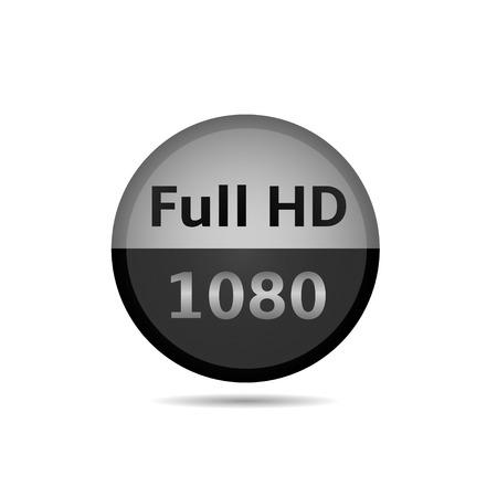 full hd: Silver Full HD icon, modern technology, vector illustration Illustration