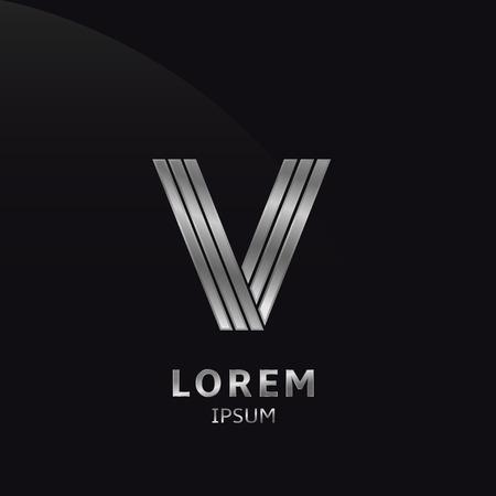 vendetta: Vector silver metallic letter V, metal alphabet