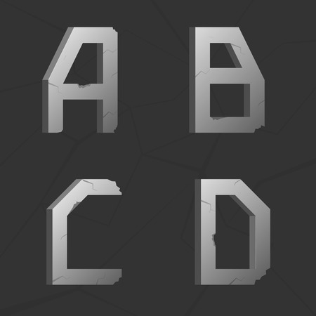 silver metal: Vector cracked silver metal retro alphabet, A B C D letters