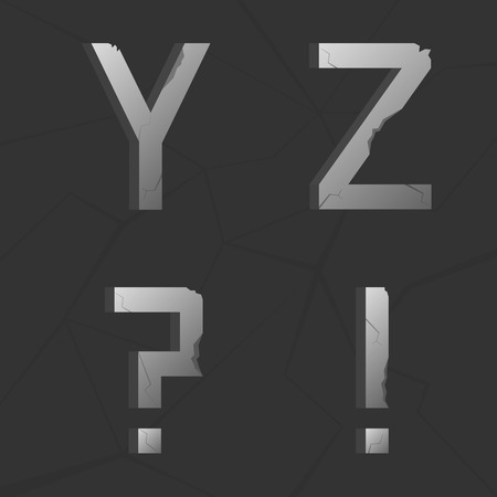 questionmark: Vector cracked silver metal retro alphabet. Question-mark, exclamation mark,  Y, Z letters Illustration