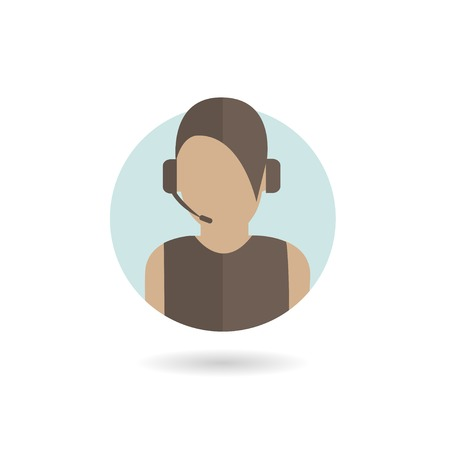 helpline: Silhouette of support phone woman operator in headset, online symbol, call center logo, helpline sign. Vector illustration