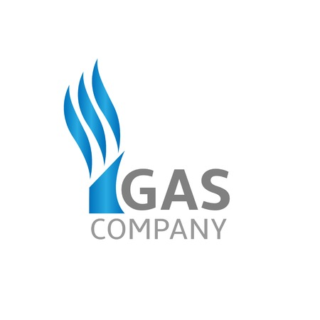 Blue gas company logo, business concept. Gas production, Vector illustration