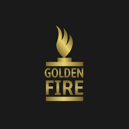 flame logo: Golden fire flame logo for gas or oil  petroleum business company. Eternal flame, Vector illustration