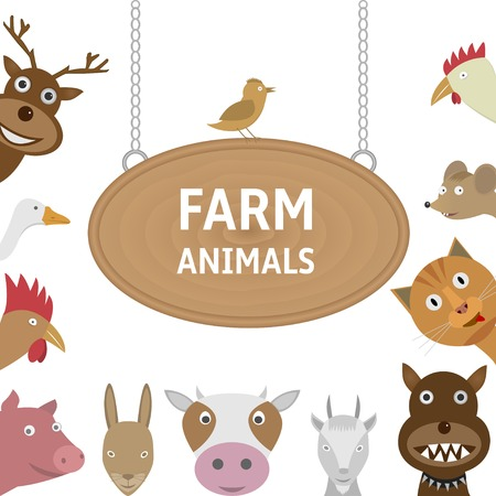 cat and mouse: Farm animals on the white background. Deer, goose, rooster, piggy, rabbit, cow, goat, dog, cat, mouse, bird, hen.