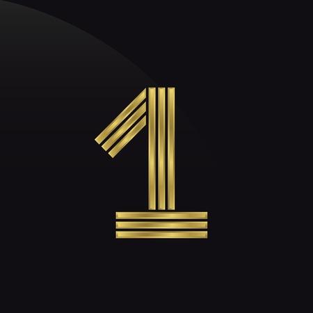 primer lugar: Número uno, primer lugar, símbolo de premio de oro. Campeón, ganador y el concepto de liderazgo.