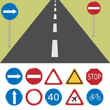warning signs: Vector illustration of road signs. Format EPS-10