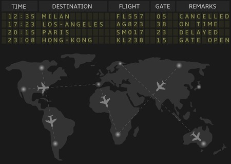 departure board: Vector airport departure board with timetable of airliner flights. Business travel and airline transportation concept.