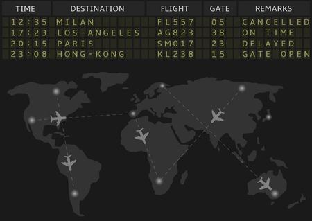 business travel: Vector Flughafen Abfahrt Bord mit Fahrplan der Verkehrsflugzeugfl�ge. Gesch�ftsreiseflugverkehrskonzept.