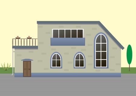 proprietary: Vector illustration of modern house exterior. EPS-10 Illustration