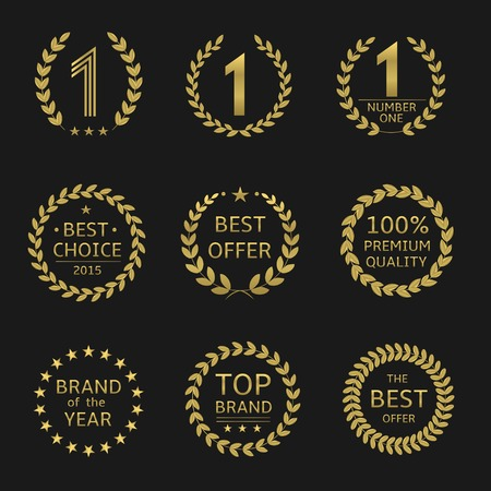 awards: Golden Award symbols. Brand of the year, best choice, best offer, top brand, Illustration