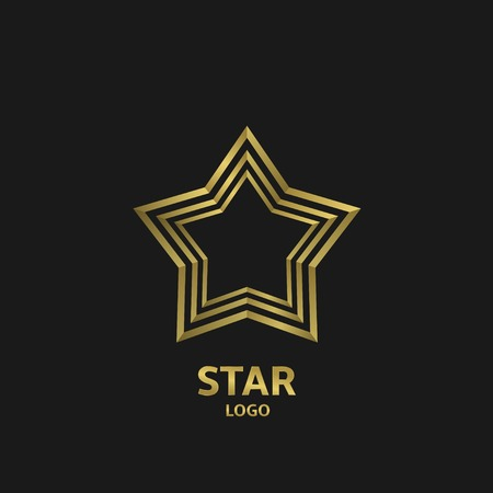 Golden star logo, award sybbol. Vector illustration