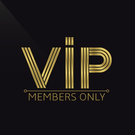 vip design: Golden VIP emblem for members only. Wealth symbol