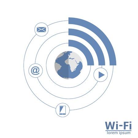 wireless technology: Free wi-fi zone concept scheme. Wireless technology.