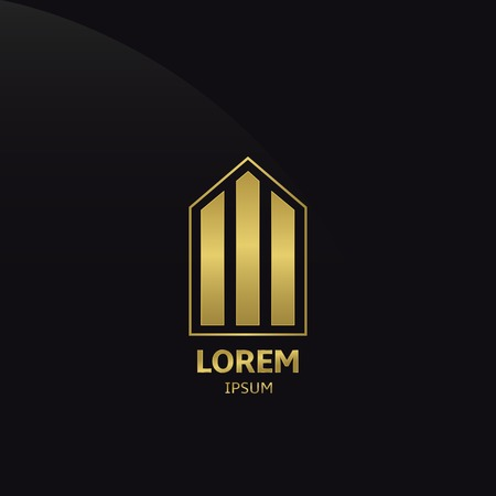 Golden Building Company Logo on the black background. Vector illustration.