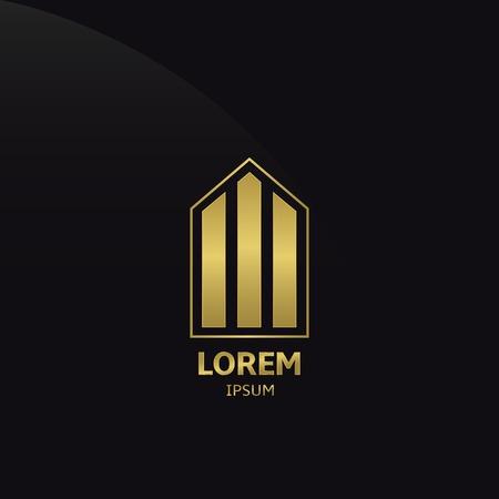 Golden Building Company Logo on the black background. Vector illustration.