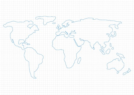 hoja cuadriculada: Mapa del mundo simple en papel cuadriculado, ilustraci�n vectorial Vectores