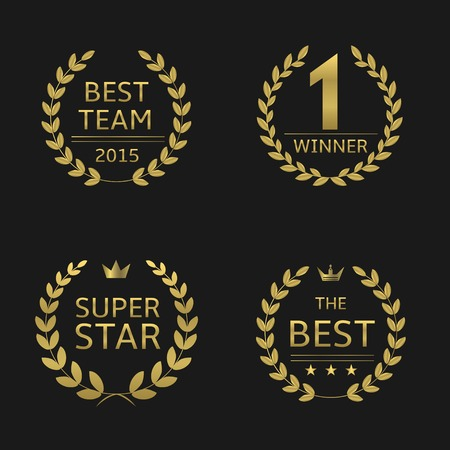 Golden awards lauwerkransen. beste team winnaar super ster best